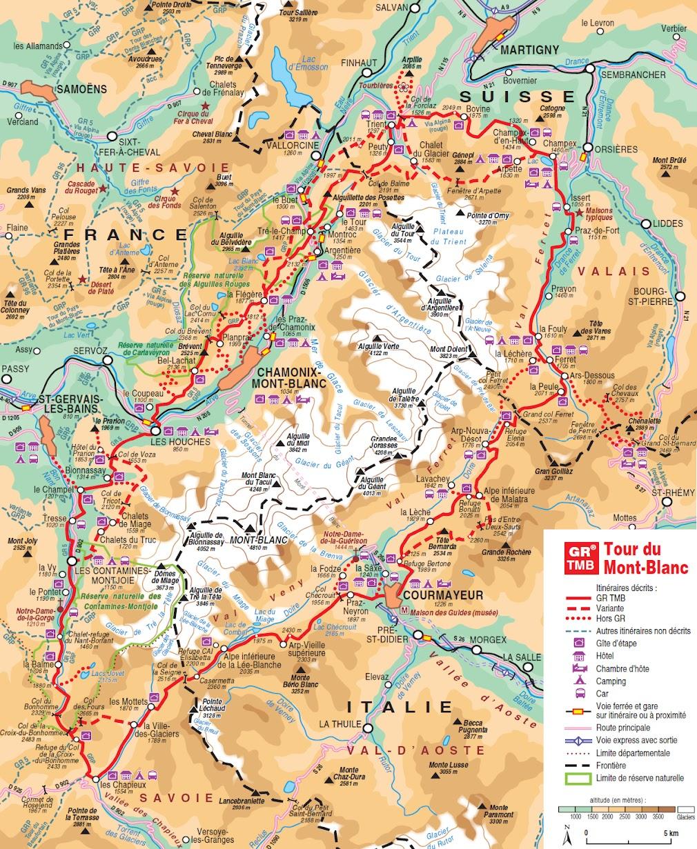 карта Tour du Mont Blanc