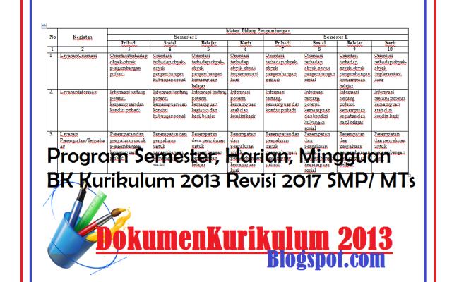 Program Semester Harian Mingguan Bk Kurikulum 2013 Revisi 2017 Smp Mts Dokumentasi Cute766