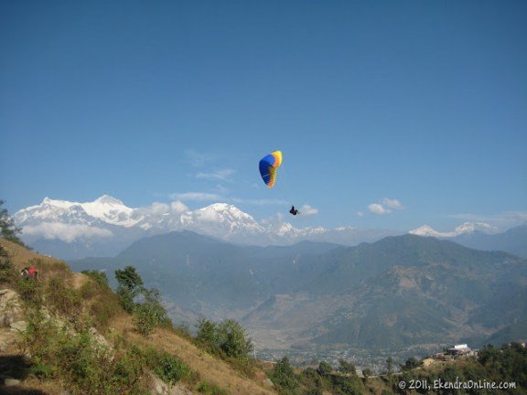 Paragliding from Sarangkot, Machhapuchhre on the background