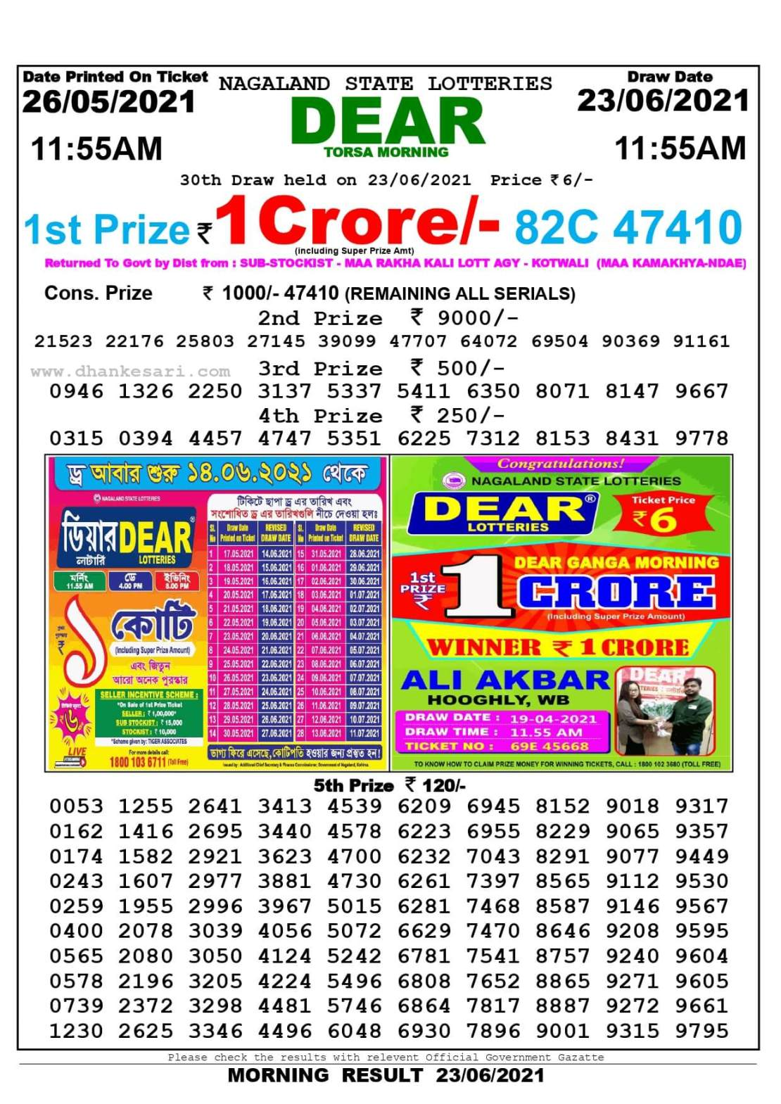 Nagaland State Lottery Result Today 11:55 AM 23.6.2021