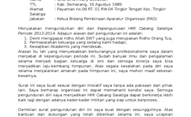 Contoh Surat Pengunduran Diri Dari Guru Berbagi Contoh Surat Cute766