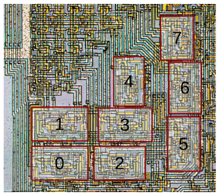 fender telecaster wiring diagram 3 way 1964 chevy nova arrangement of the eight alu slices on 8008 microprocessor die. unlike most processors, ...