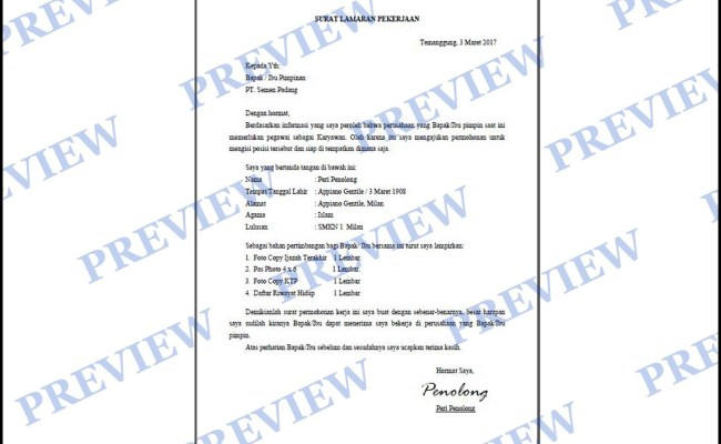 Contoh Surat Lamaran Kerja Buruh Pabrik Kumpulan Surat Cute766