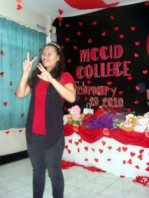 Joanna Teves, this year's Valentine program in-charge gives her welcome address.