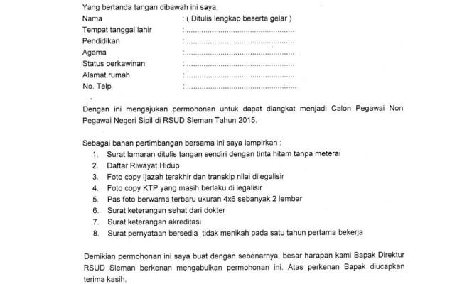 Contoh Surat Lamaran Kerja Non Pns Cute766