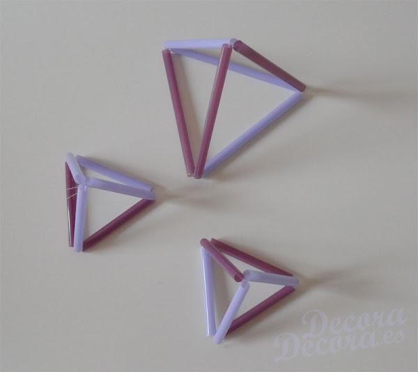 Pirámides de pajitas para decorar
