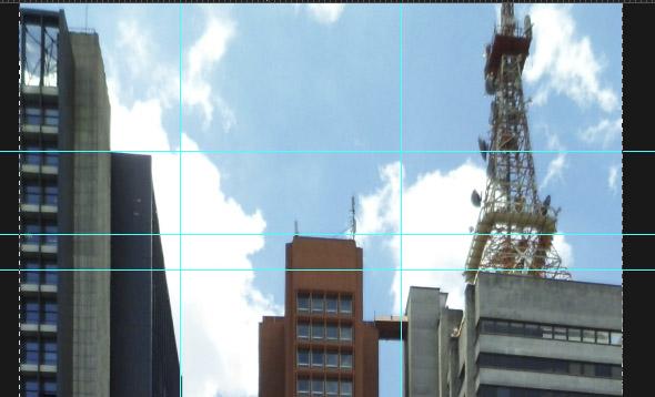 Topo dos prédios com um pouco de perspectiva horizontal