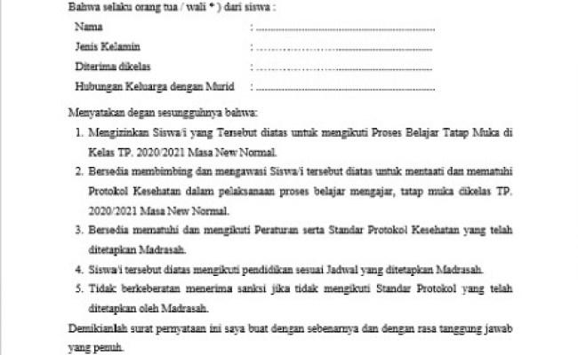 Contoh Surat Pernyataan Orang Tua Memberi Izin Untuk Pembelajaran Tatap Muka Admin Sekolah Cute766