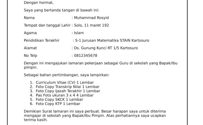 Contoh Surat Lamaran Kerja Untuk Guru Tk Cute766