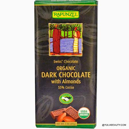 Органический темный шоколад с миндалем, Rapunzel, Organic Dark Chocolate with Almonds