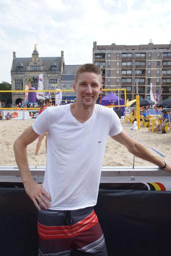 Joppe Paulides op het BK Beach volley in Roeselare