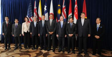 Leaders of TPP member states and prospective member states at a TPP summit in 2010