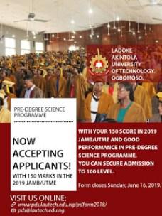 LAUTECH 2019 Pre-Degree Science Programme Registration