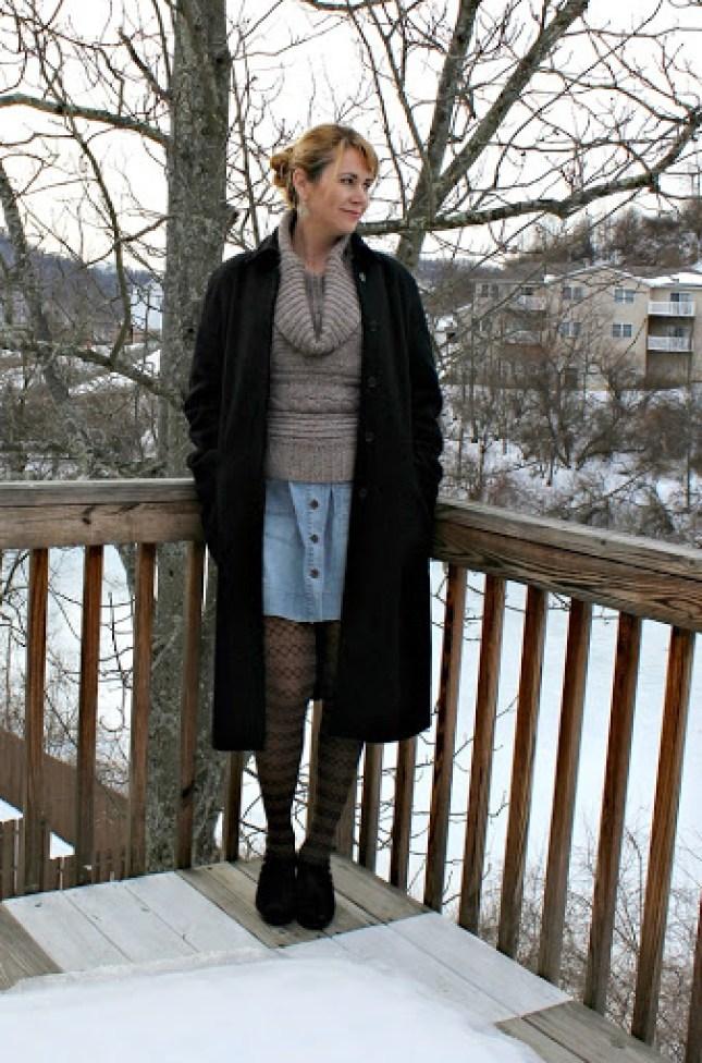 cowl-neck-sweater-denim-skirt-1