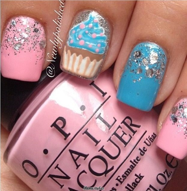 Cupcake nail art ideas newest look reny styles they are amethyst and abysmal blooming as basal colors which are lighter than the hue of cupcakes you can accept amber frosting or strawberry frosting and prinsesfo Choice Image