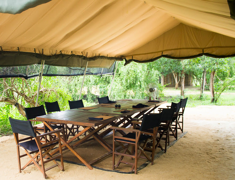 Lunch tent where hearty local Sri Lankan dishes are served at the Leopard Trails camp near Yala in Sri Lanka.