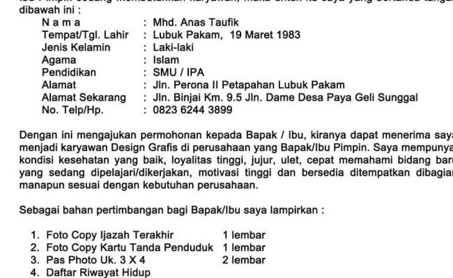 Contoh Surat Lamaran Kerja Indomaret Pontianak Cute766