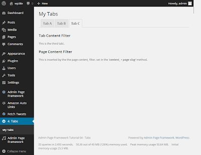 Creating in-page tabs with Admin Page Framework