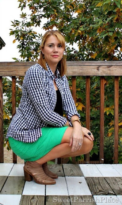 green-skirt-black-top-plaid-button-down-booties-3