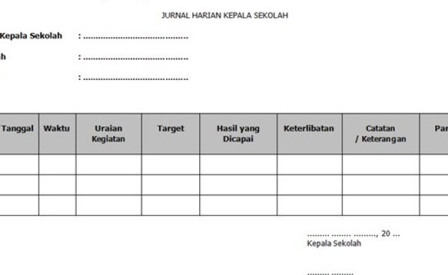 Contoh Format Jurnal Kegiatan Harian Kepala Sekolah Guru Loyal Cute766