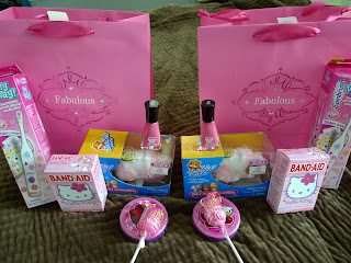 Pink care packages for the girls.