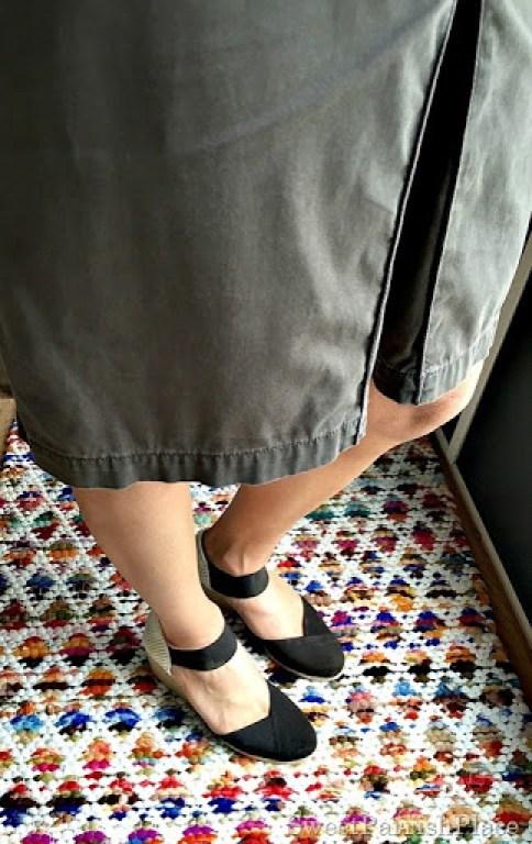 brown skirt, brown wedges