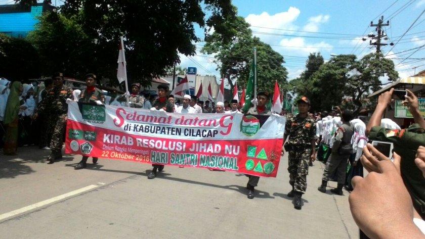 Selamat Datang Kafilah Kirab Resolusi Jihad NU di Majenang, Cilacap, Jawa Tengah. Foto: Kang Nawar (@munawar_am)