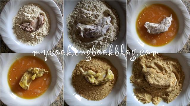 Паниран заек и млечно-майонезен сос
