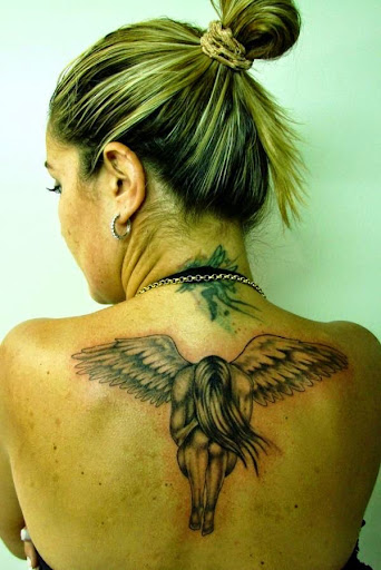crying sad angel tattoos on back women