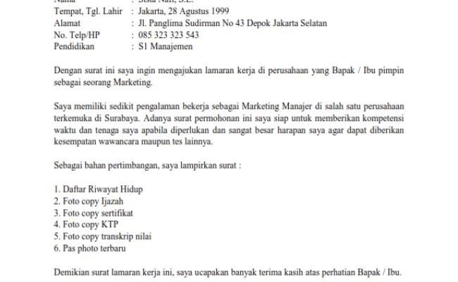 Contoh Surat Lamaran Lulusan Sma Ipa Cute766