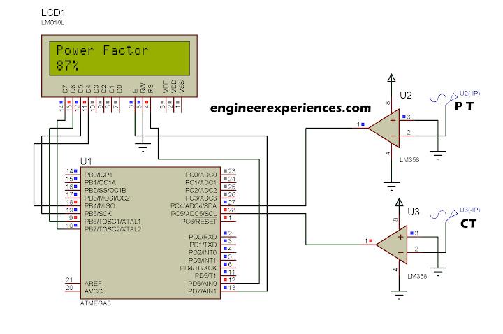 power factor measurement using atmega8 16 engineer experiences complete circuit diagram power factor simulation diagram