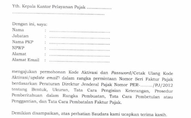 Contoh Surat Pengembalian Sisa Nomor Faktur Pajak Cute766