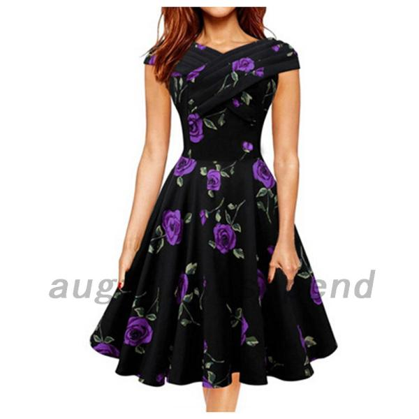 Vintage Style Flower Fit Flare Graduation Cocktail Prom
