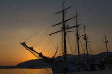 Sunset at the harbor of Tivat