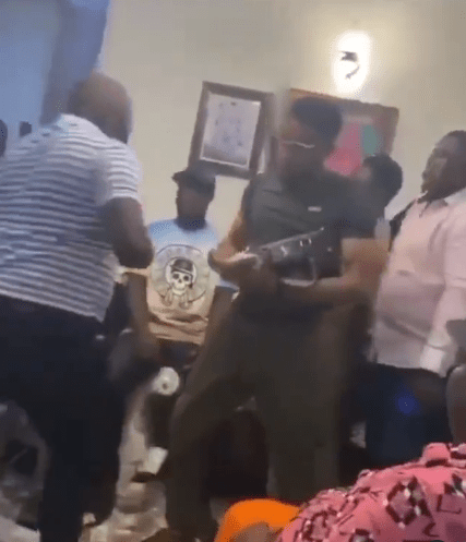 Guests throw bundles of money at each other at Obi Cubana's country home in Oba (video)