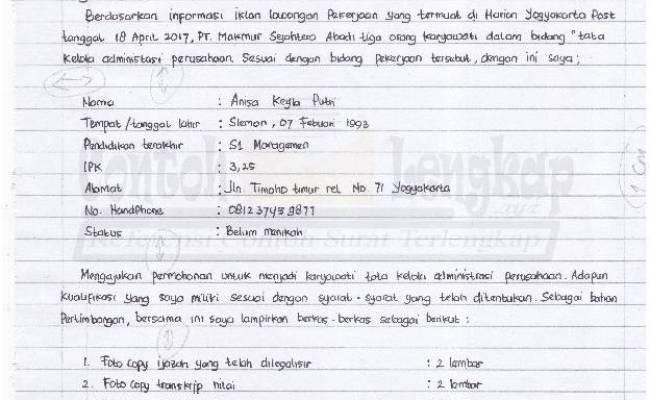 Contoh Surat Lamaran Kerja Kertas Folio Bergaris