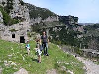 A demolished, ancient, limestone kiln fascinates the girls.