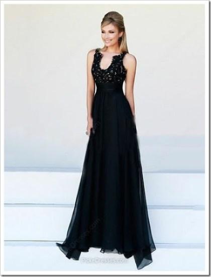 Black Prom Dress - A-line, V Neck, Sweeptrain