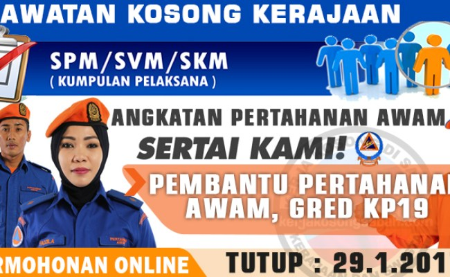 Jawatan Kosong Pembantu Pertahanan Awam Gred Kp19 Jawatan Kosong Terkini Negeri Sabah Cute766