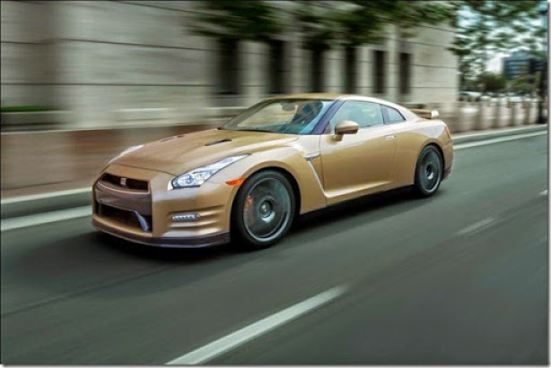"""The 45th Anniversary Gold Edition, built off of the GT-R Premium model, commemorates the GT-R's long heritage of world-class high performance. Featuring a special gold paint color, the limited edition model also includes a special gold-tone VIN plate located inside the engine compartment and a special commemorative plaque on the interior center console. The paint color itself is the same """"Silica Brass"""" color that marked the 2001 Skyline GT-R M-Spec (R34 Type). Fewer than 30 of these special GT-Rs are slated for the United States market."""