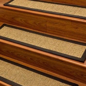 Carpet Stair Treads And Rugs 9 X 29 Studio Sisal Natural Fiber | Black Carpet Stair Treads | Bullnose | Padded | Stair Runner | Staircase | Non Slip Stair Tread