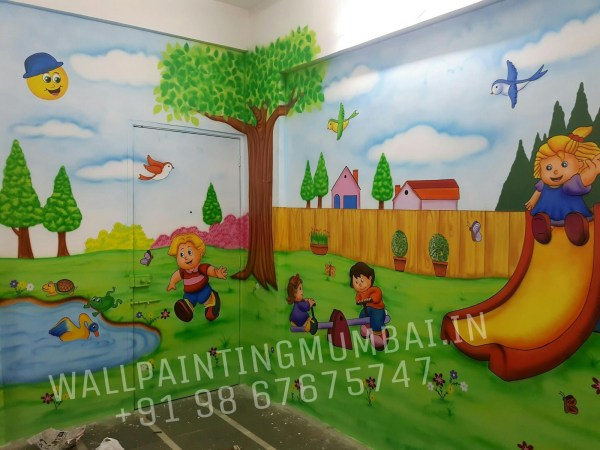 Play School Wall Painting Classroom