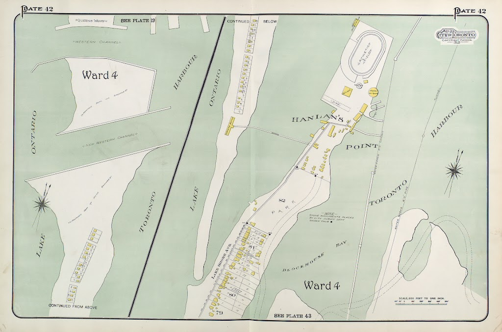 1910 Atlas of the City of Toronto, Island Park, showing plan numbers, lots & buildings c-r-150
