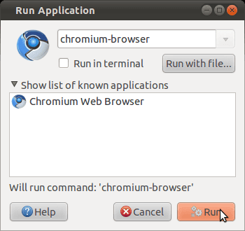 Ubuntu Run Application dialog box
