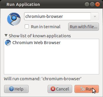 Ubuntu Run Application dialog box