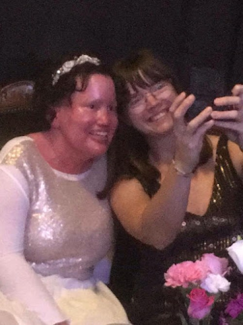 Carly Findlay and Clare Reilly taking a selfie at Carly and Adam's wedding