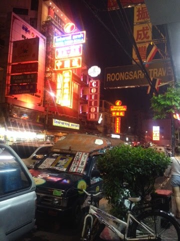 Bright neon lights at night in China Town