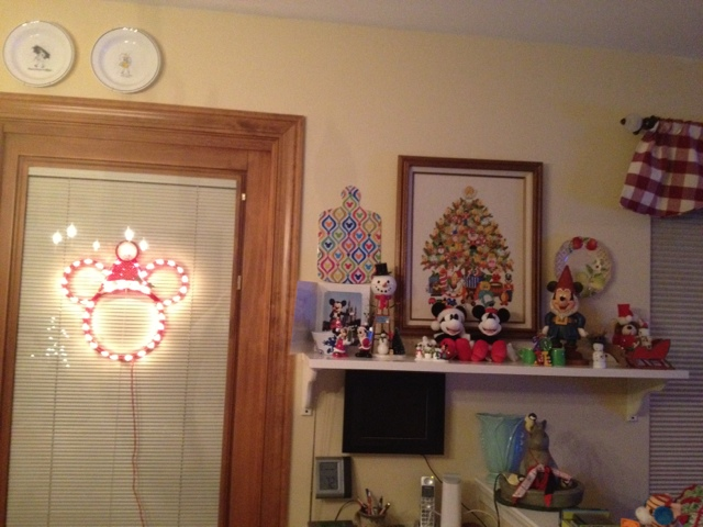 I Found The Perfect Spot To Hang Our New Lighted Christmas Mickey Mouse Right Next Disney Display Shelf