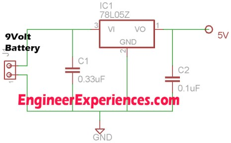 Circuit Diagram to make a 5 volt supply through 9 volt battery