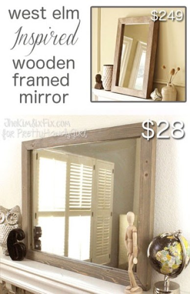 Create this fabulous knock-off West Elm wooden framed mirror without any fancy power tools. Just use a 1x6 tongue and groove board which is the perfect fit to insert an inexpensive IKEA mirror.